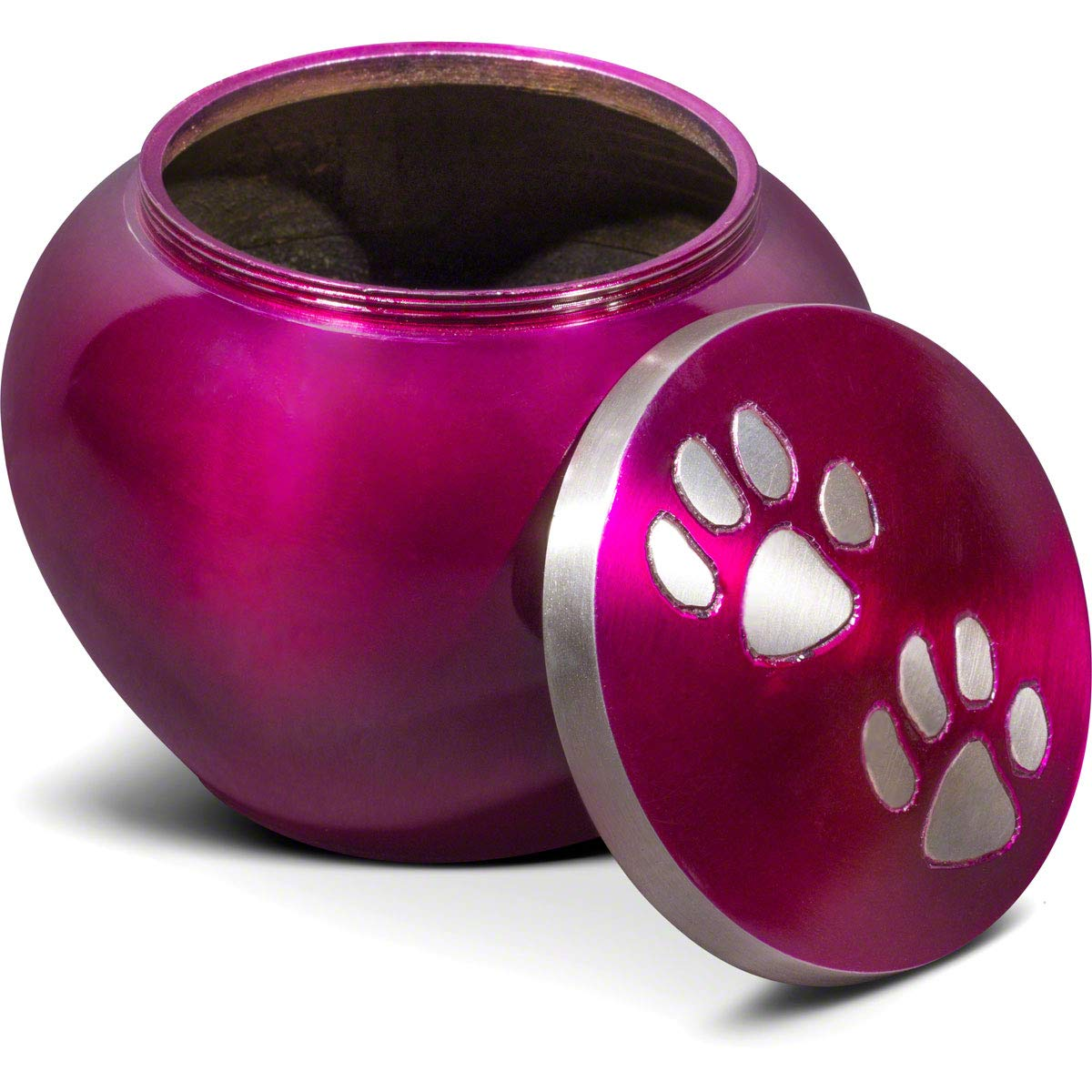 Best Friend Services Dog and Cat Pet Cremation Urn, The Mia Series in Deep Purple Color Finish and Hand Carved Pewter Paws, Small Size to Memorialize Pets up to 25lbs by Best Friend Services