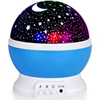 KING UP Night Light for Kids, Moon Star Projector - 4 LED Bulbs 8 Light Color Changing with USB Cable, 360 Degree…