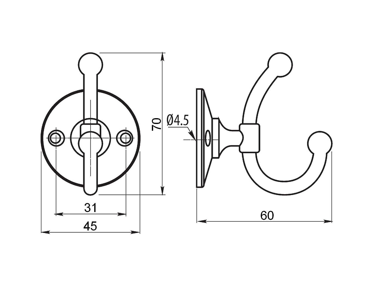 Garderobenhaken MARIELLA 70 x 45 x 60 mm Bohrlochabstand 31 mm Edelstahloptik Metall massiv Garderobe Handtuchhalter von SO-TECH/®