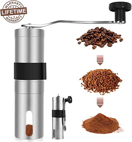 Macinino by Bassani Manual Ceramic Burr Coffee Bean Grinder Ceramic Conical Adjustable Burr Assembly for Precision Brewing