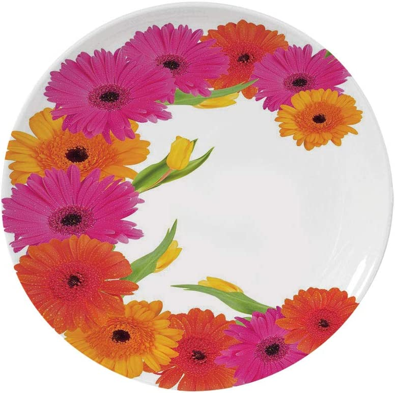 Ylljy00 Floral 6 Dinner Plate,Pastel Wildflowers Drawing of Foliage Leaves Nature Inspired Flora Decorative Ceramic Decorative Plates,Dining Table Tabletop Home Decor,Baby Blue Yellow Green Brown
