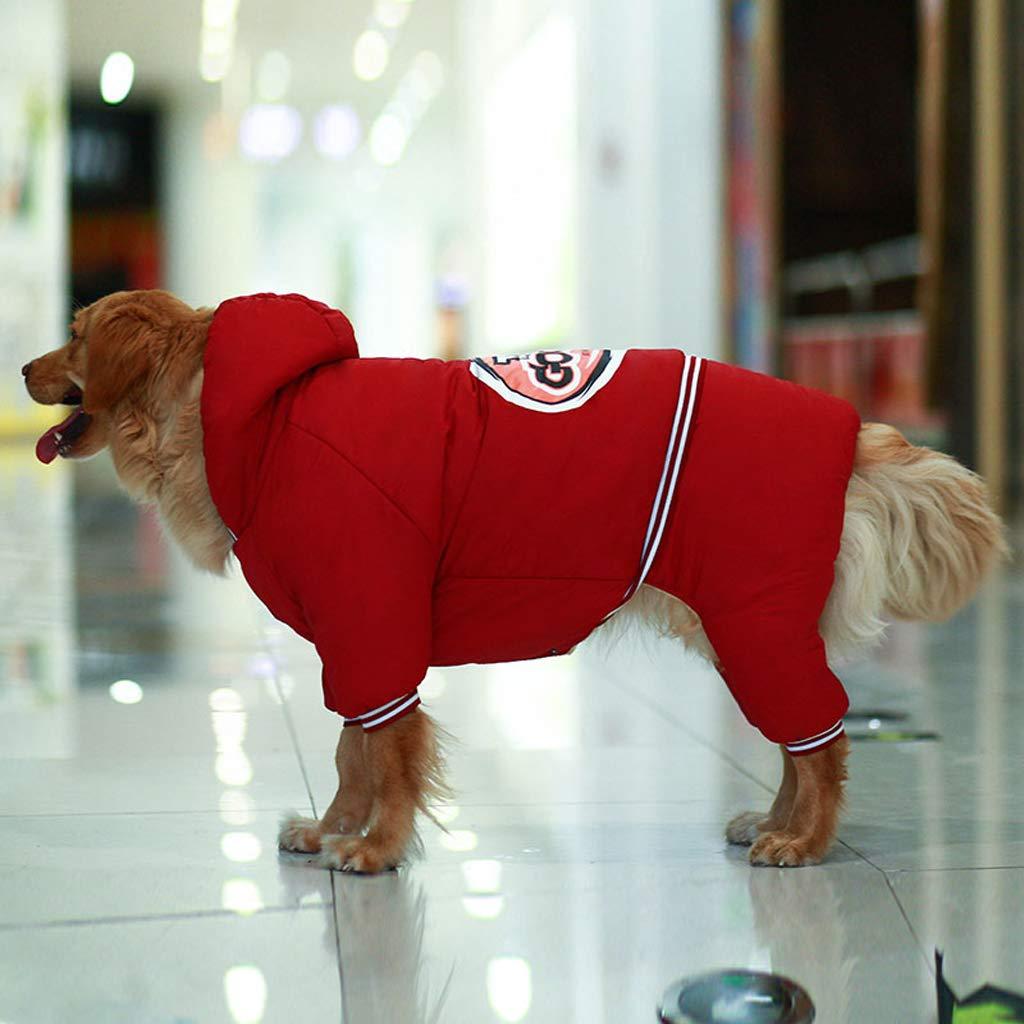 ABLJ clothes for pets Abbigliamento per Animali Vestiti per Cani Vestiti Autunnali e Invernali nel Cappotto di Cotone a Quattro Zampe Ispessimento Cane di Grandi Dimensioni - Rosso -3XL