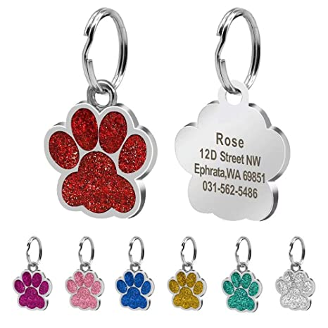 Beirui Placas de identificación Huellas Personalizadas en Acero Inoxidable de 24 mm para Perros y Gatos, con Grabado láser, Rojo, S (0.9