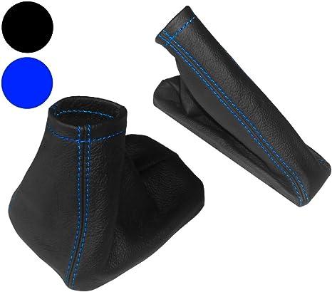 Levier de vitesses et frein /à main Noir en Cuir V/éritable Couture Bleu