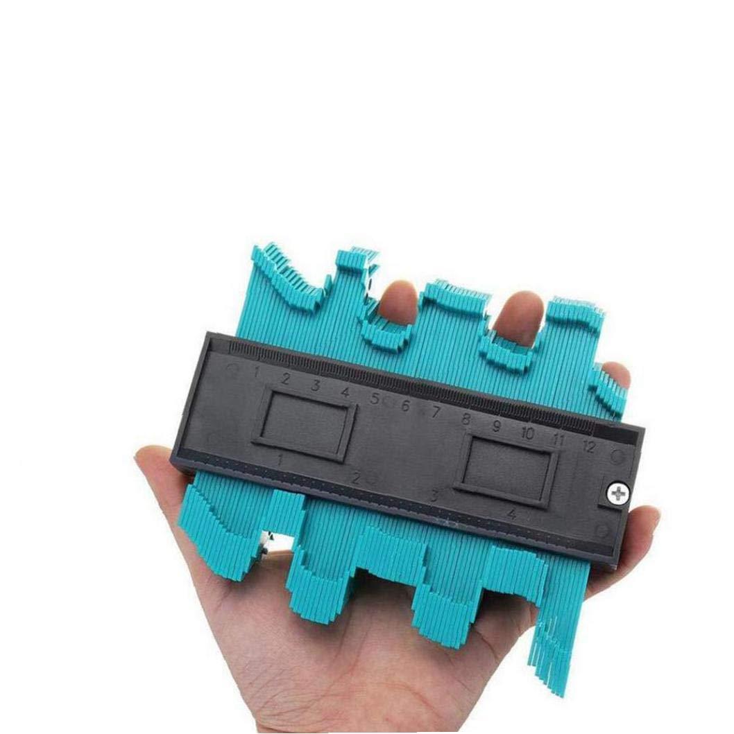 Medidores de perfil irregular de funciones m/últiples de pl/ástico de medici/ón Instrumento de la madera de construcci/ón de madera cosecha Copia gramil 12cm herramienta 1PC verde
