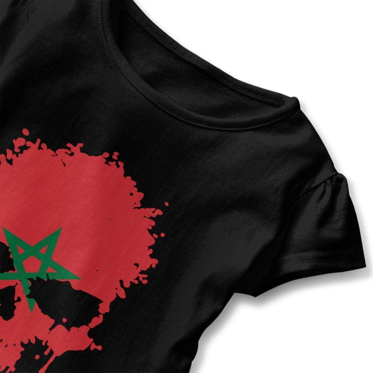 2-6T Kawaii Tunic Shirt Dress with Falbala Zi7J9q-0 Short-Sleeve Morocco Skull T-Shirts for Children