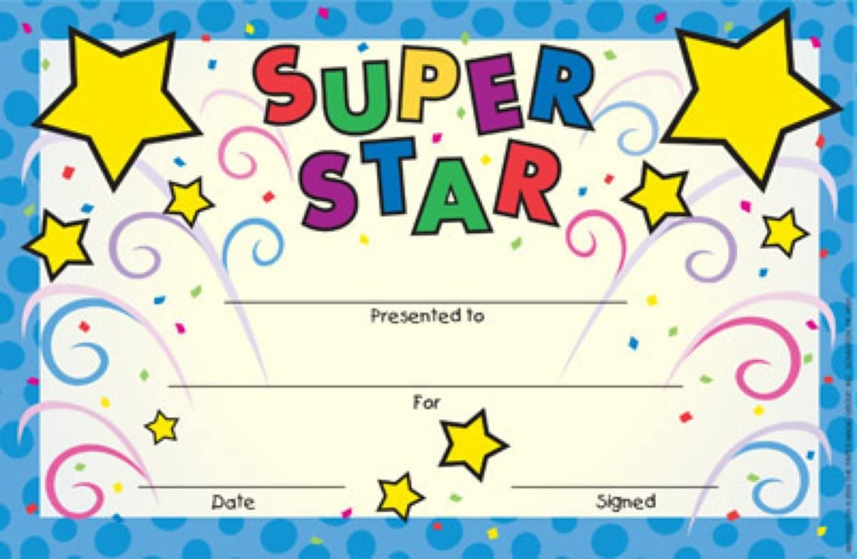 Eureka Back to School 'Super Star' Recognition Rewards for Kids, 36pc, 8.5'' W x 5.5'' H : Academic Awards And Incentives Supplies : Office Products