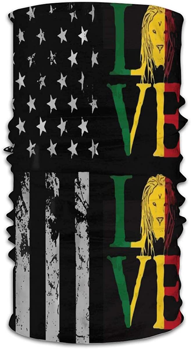 Vintage Black American Flag and Rasta Lion Jamaican Reggae Love Bandana Neck Gaiter Headwear Sports Scarf Headband for Men Women Windproof Sun Protection Cool Balaclava for Fishing Hiking Cycling