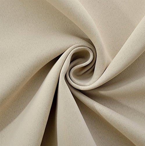 Miuco Room Darkening Grommet Blackout Window Curtains Panels for Bedroom Set of 2 52x84 Inch Begie, Bonus 2 Tie Backs Included