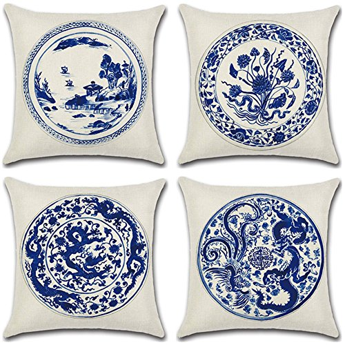 Homyall Blue and White Porcelain Cushion Covers Square Decorative Pillow Covers Cotton Linen Throw Pillow Covers Set of 4 Cushion Covers 18x18 inch, 4 Packs (Blue and White Porcelain) ()