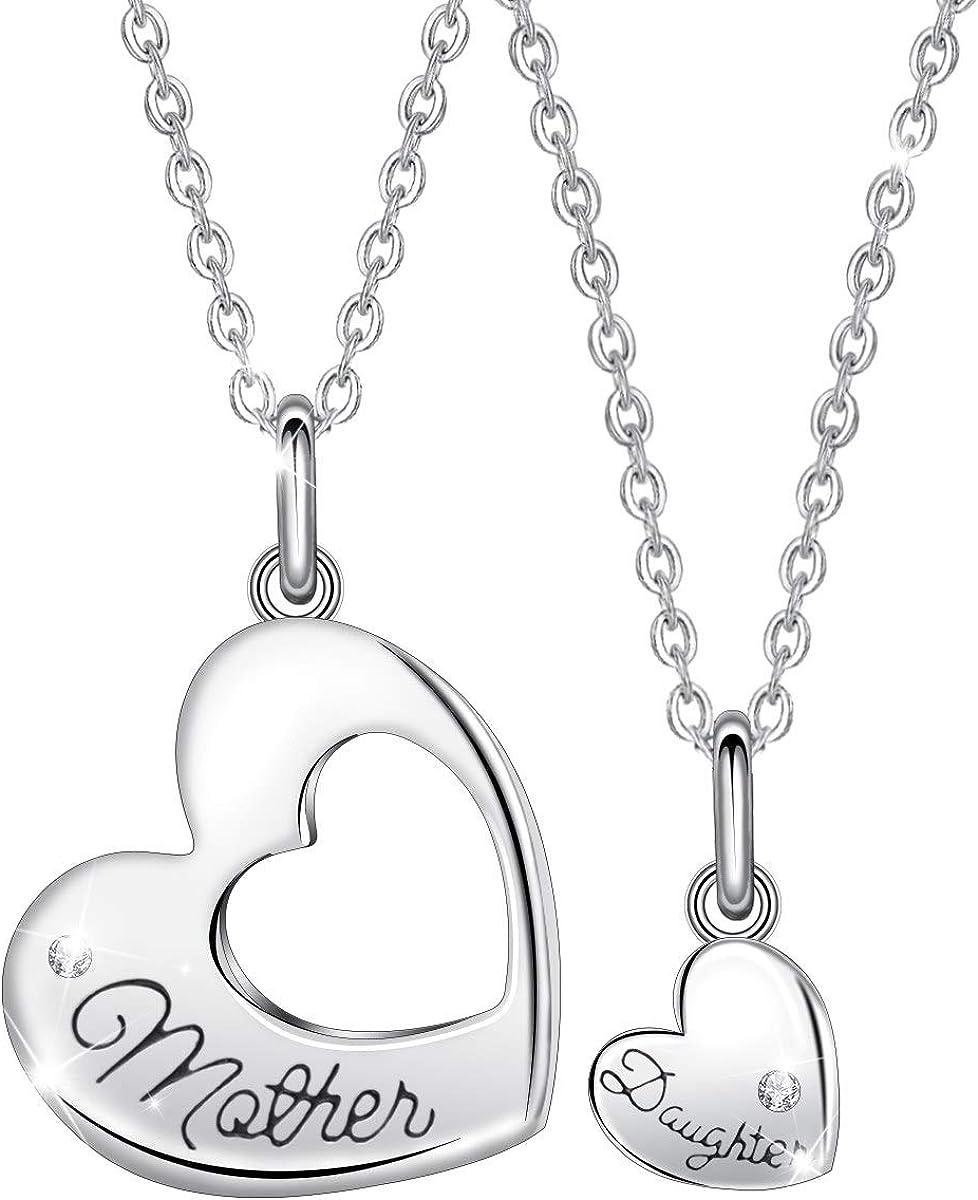 EUDORA Corazón Collares de Mamá e Hija Plata de ley S925, Colgante de Mamá e Hija Regalos dia de la Madre, 45,7cm