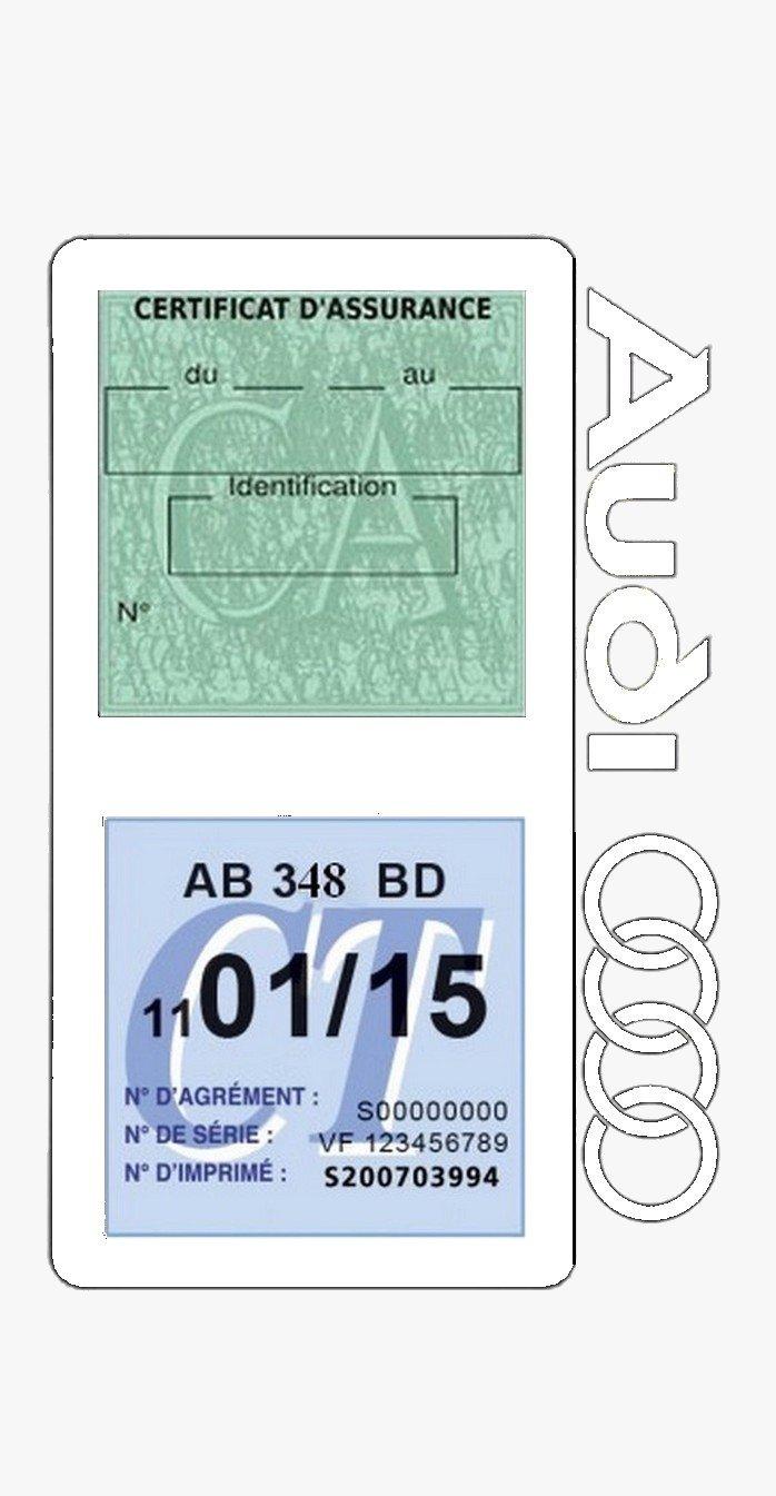 Bleu fonc/é G/én/érique Etui Double Assurance Audi Porte Vignette adh/ésif Voiture Stickers Auto r/étro