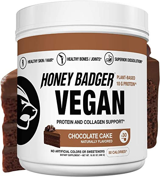 Honey Badger Natural Vegan Keto Collagen Pea Protein Vitamin C Chocolate Cake Gluten Free Paleo Amino Acids BCAA Digestive Enzymes Hydrolyzed 20g Pea Protein Non GMO Supplement 30 Servings