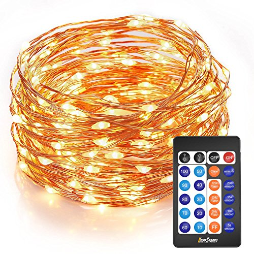 Homestarry Outdoor String Lights,Dimmable LED Starry String lights Perfect for Bedroom,Garden,Party,Indoor and Outdoor Decorations (100LEDs 33ft,Cooper Wire,WarmWhite ,Remote Control) (Cooper Wire Wrap)