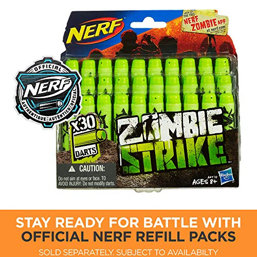 61zKs7TXqrL - Scravenger Nerf Zombie Strike Toy Blaster with Two 12-Dart Clips, 26 Darts, Light, Barrel Extension, X 40Mm, Stock, 2-Dart Blaster - For Kids, Teens, Adults