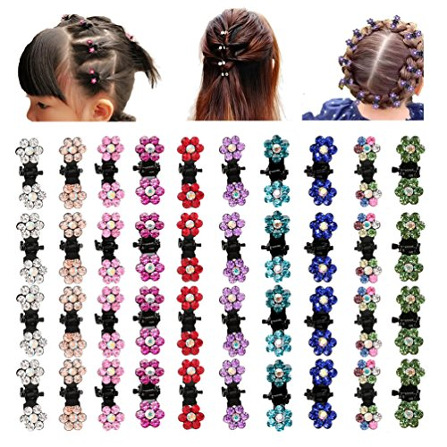 inSowni 40pcs Mini Hair Claw Clips Pins Rhinestone Flower Barrettes for Baby Girl Toddler Infant Kids (40PCS S2)
