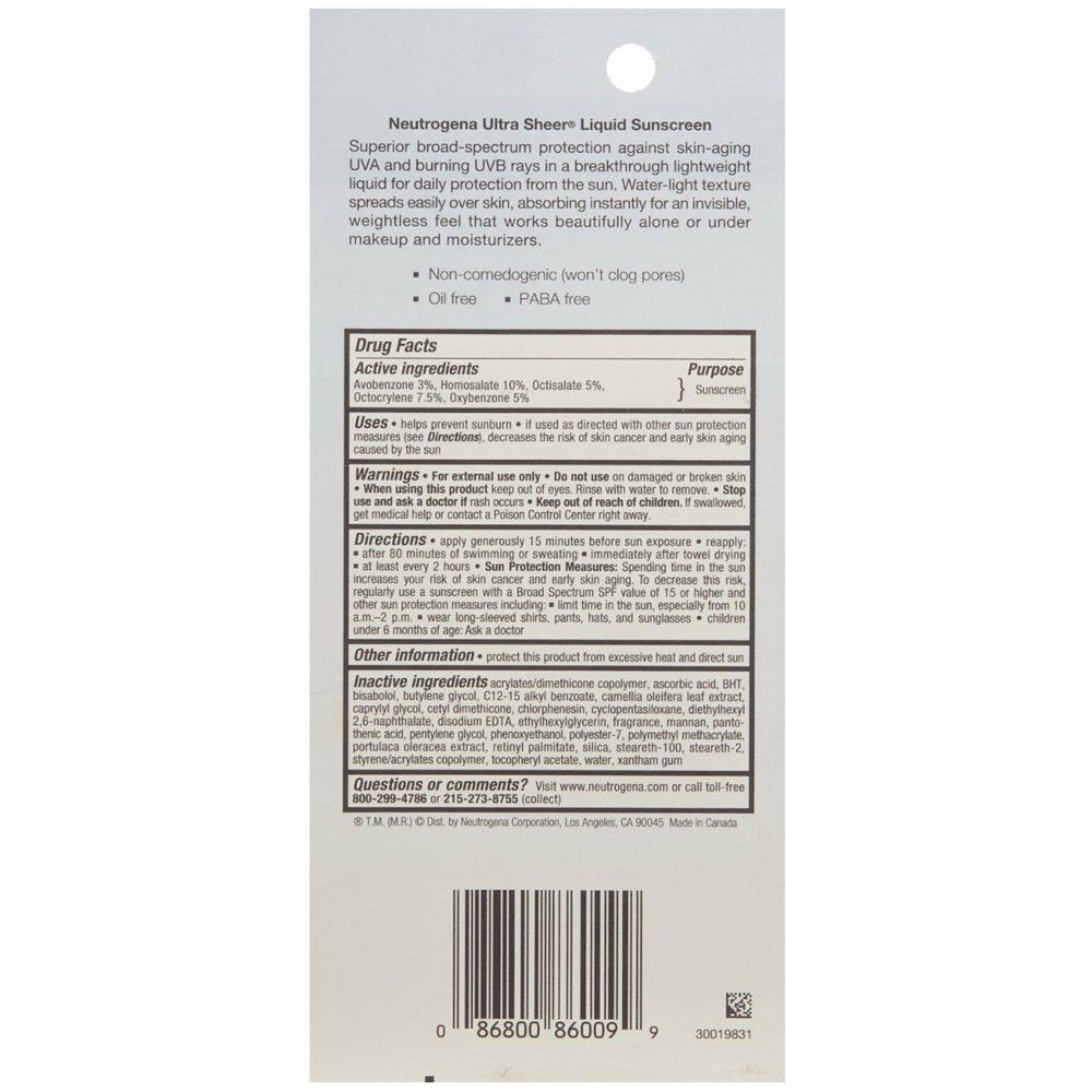 Neutrogena Ultra Sheer Liquid Daily Sunscreen, SPF 70 1.4 oz Pack of 3