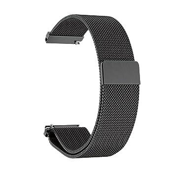 Para reloj Huawei 2, DoraMe Milanesa de reloj de acero inoxidable para Correas reloj (Negro1): Amazon.es: Deportes y aire libre