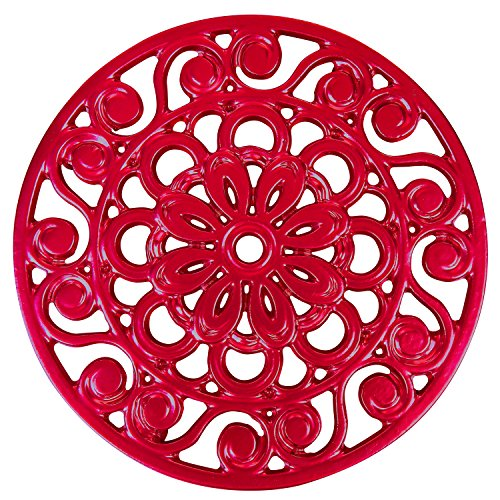 Trademark Innovations Decorative Cast Iron Metal Trivet (Red) ()