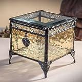 J Devlin Box 406-2 Heart Charm Box Antique Yellow Stained Glass Keepsake Gift Decorative Trinket Box Vintage Home Decor