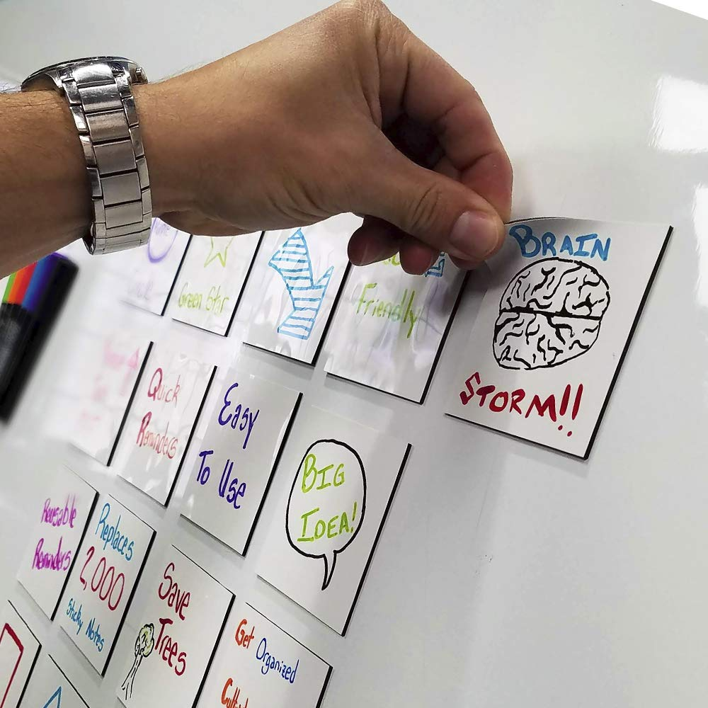 mcSquares Stickies Dry-Erase Sticky Notes. Reusable Whiteboard Stickers 3in x 3in 24 Pack. Never Buy Paper Post Notes Again, Its Eco-Friendly! with Smudge-Free Wet-Erase Marker by MC SQUARES