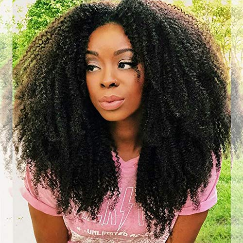 - ZigZag Hair Afro Curly 13x6 Lace Front Wigs for Black Women Brazilian Pre Plucked Deep Part Lace Front Human Hair Wig 130% Density With Baby Hair (16inch, 150% Density)
