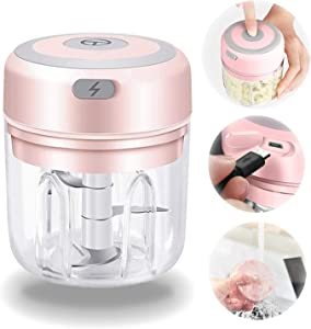 Electric Mini Garlic Chopper 250ML, Portable Wireless Meat Press Chopper with USB Charging, Small Waterproof Food Processor, Blender Masher for Vegetable Chili Pepper Onion Nuts Fruit (Pink 250ml)