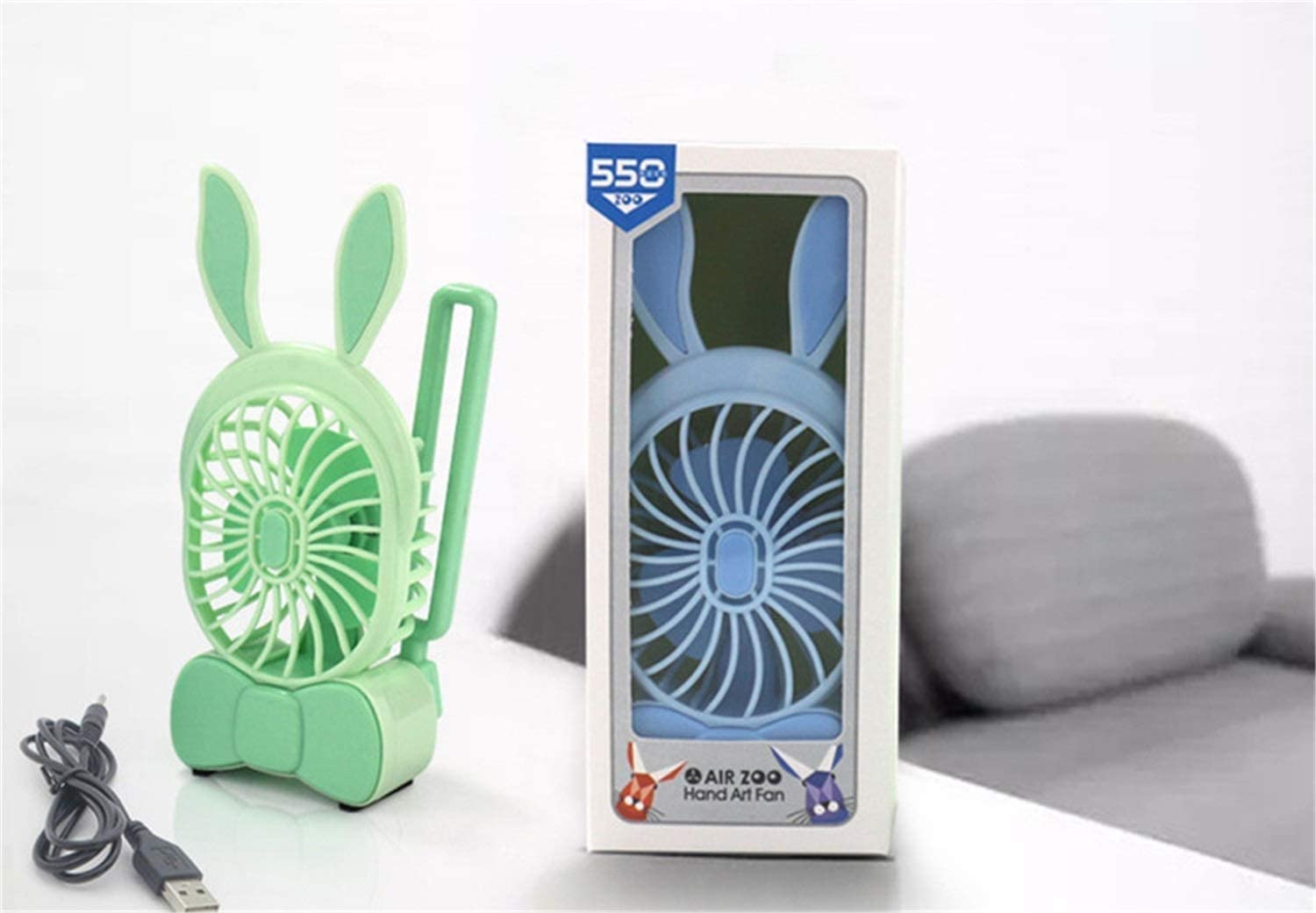 EENYT Mini Handheld USB Fan Rabbit Shape Folding Fan Portable Student Mute Green