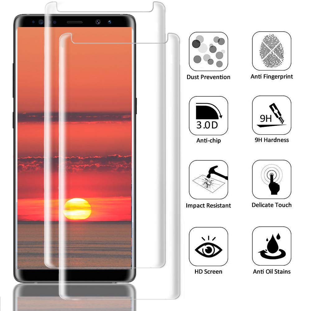 [2Pack] Galaxy Note 8 Screen Protector, 3D Full Screen Coverage Glass [Curved] [Bubble-Free] [9H Hardness] [Anti-Scratch] Clear Galaxy Note 8 Tempered Glass Screen Protectors for Samsung Galaxy Note 8 by AsianiCandy (Image #2)