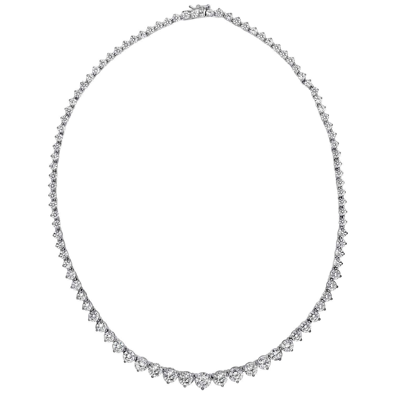 J'ADMIRE 23 carats Swarovski Zirconia Round-Cut Graduated Riviera Necklace, Platinum Plated Sterling Silver, 17''