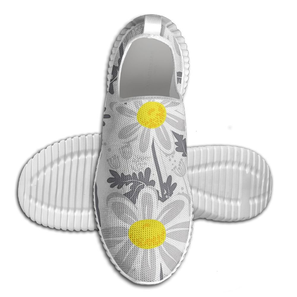 DiamondsJun Unisex Daisy Flowers With Bees In Spring Time Honey Petals Floret Nature Purity Bloom All Over 3D Printed Mesh Slip On Fashion Comfortable Shoes 41