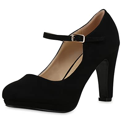 7ce80d0de7f41c Damen Pumps Mary Janes Blockabsatz High Heels T-Strap Damen Pumps SCHWARZ  36 Jennika
