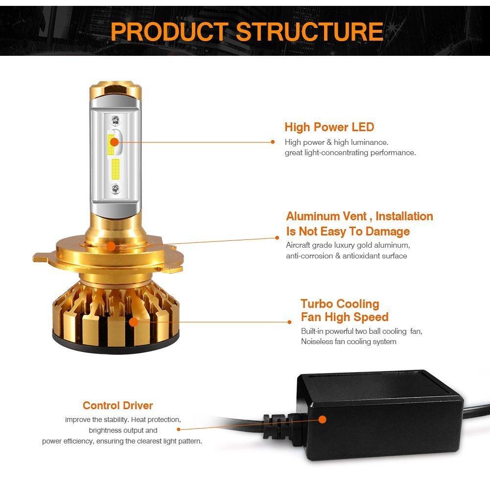 Amazon.com: hai lang xing guang 10000lm H4/9003/HB2 Led Headlight Bulbs Dual High/Low Beam 6000K Cool White K5 Series Anti-EMC Extremely Bright Light ...