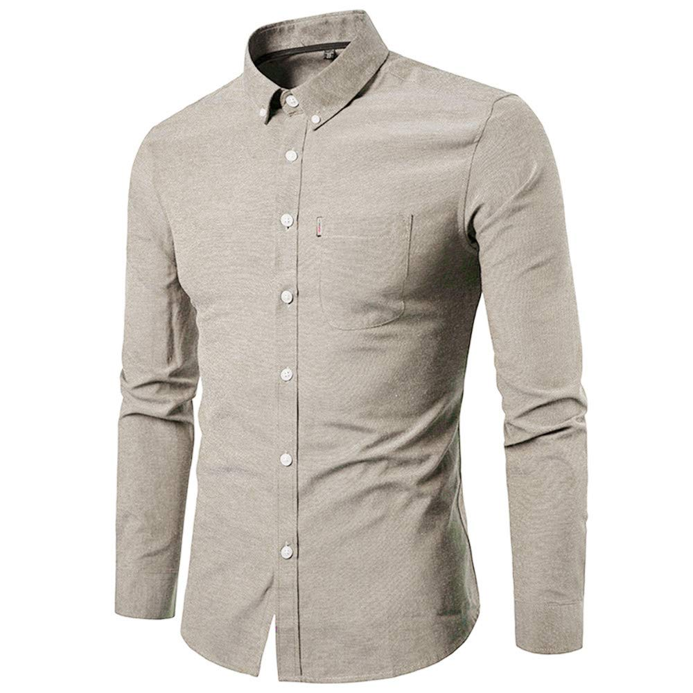 35f85663a1c3 Men's Fitted Long-Sleeve Shirt, Autumn Winter Casual Solid Long-Sleeve  Turn-Down Color Shirt Top Blouse(Sky Blue, 38(M)): Amazon.ca: Clothing & ...