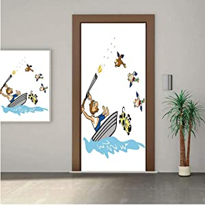 Ylljy00 Hunting Decor Premium Stickers for Door/Wall/Fridge Home DecorBoating Aged Man Wild Ducks and Funny Dog Falling Into Water Cartoon Decorative 30x80 ONE Piece Sticky Mural,Decal,Cover,Skin