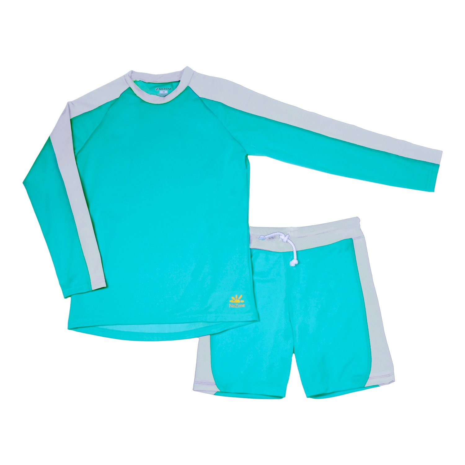 Nozone Laguna Sun Protective Boys Two Piece Swimsuit in Turquoise//Ash Size 10