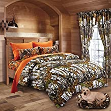 20 Lakes Woodland Hunter Camo Comforter, Sheet, & Pillowcase Set (Queen, White & Orange)