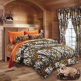 20 Lakes Woodland Hunter Camo Comforter, Sheet, Pillowcase Set (Twin, White & Orange)