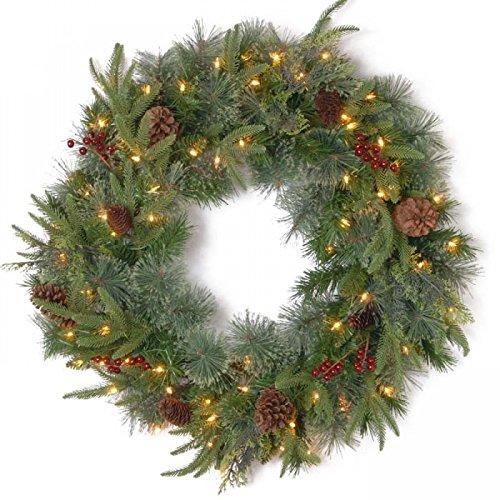 Colonial Pine 'Feel Real' Pre-Lit Wreath - 60cm National Tree Company