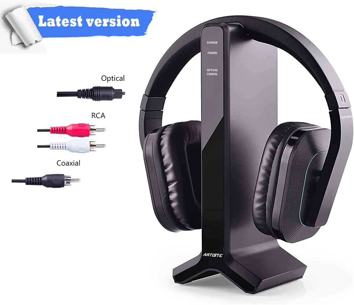 2.4g RF Wireless Headphones for TV Watching Listening, ARTISTE D1 Rechargeable Wireless Headset with Charging Dock Transmitter, Optical Fiber Output, Ideal Headset for The Seniors 100ft Range