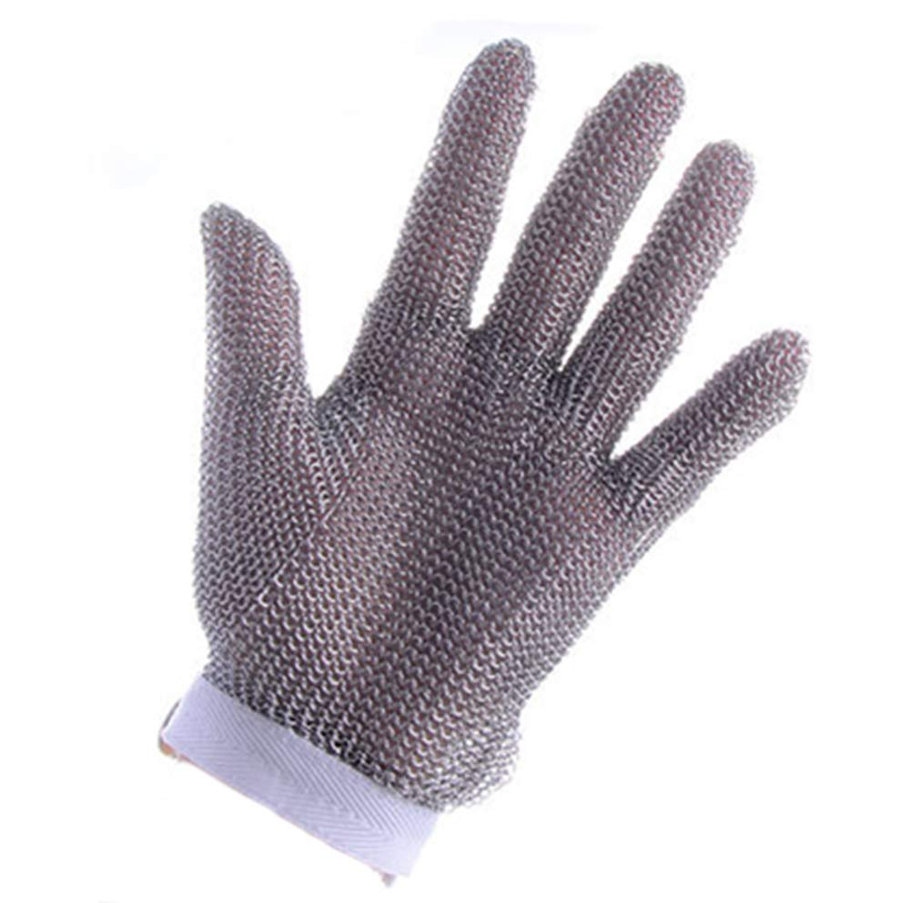 DLGLOBAL Cut Resistant Gloves Stainless Steel Mesh Metal Mesh Anti-cutting Gloves Five Fingers Nylon Belt Gloves Work Safety Gloves Chain Mail Protective Gloves L