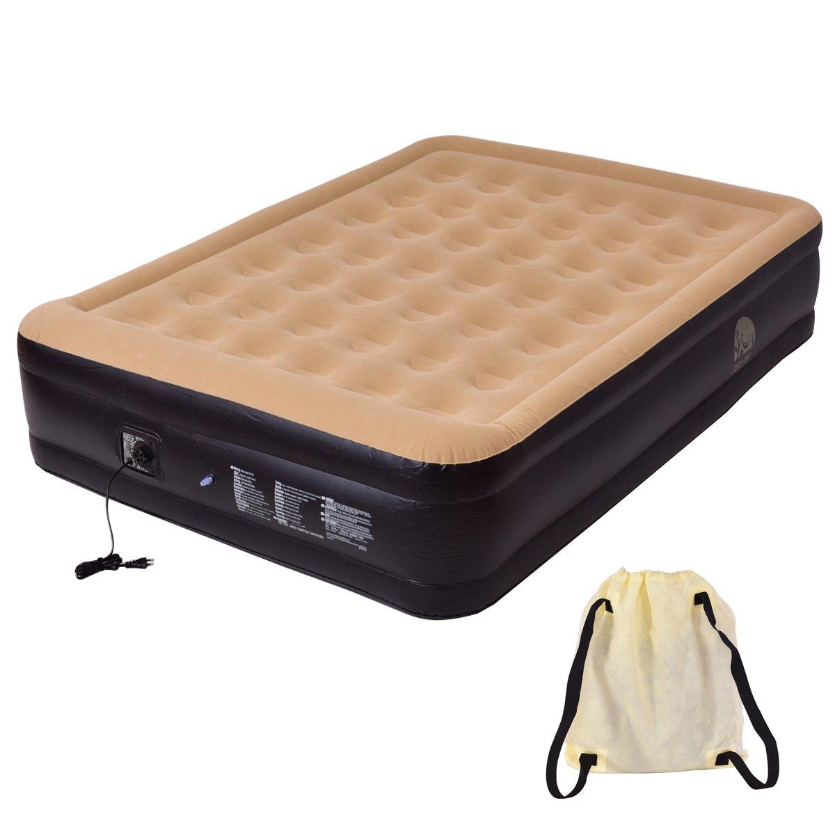 Luftbett Luftmatratze Gästebett Camping Reisebett Feldbett Matratze Bett mit Pumpe aufblasbar 203x157x47cm Blitzzauber 24
