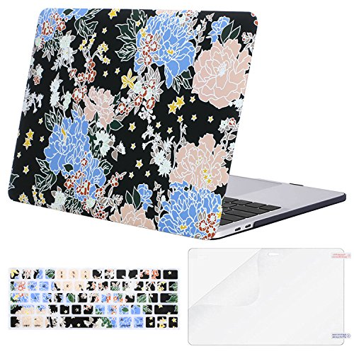 MOSISO MacBook Pro 13 Case 2018 2017 2016 Release A1989/A1706/A1708, Plastic Flower Pattern Hard Shell & Keyboard Cover & Screen Protector Compatible Newest Mac Pro 13 Inch, Pink & Blue Drawing ()
