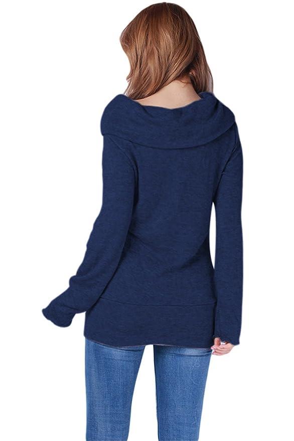 0a12b5027b97df Aidonger Damen Strickpullover Asymmetrisch Pulli Lang Schulterfrei  Langarmshirt: Amazon.de: Bekleidung