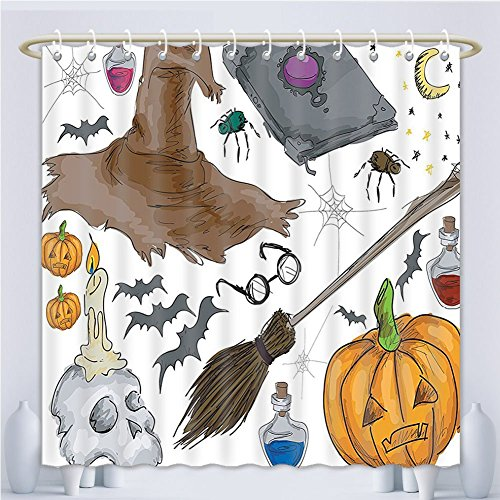 Amsome Unique Custom Shower Curtains Halloween Decorations Collection Magic Spells Theme Witch Craft Objects Doodle Style Grunge Design Ca Polyester Fabric Shower Curtain For Bathroom, 55 x 72 Inches