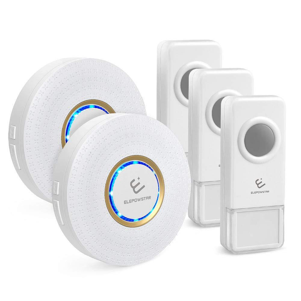 Wireless Doorbell 3 Sender /& 2 Empf/änger rund Drahtlose Funkklingel Set T/ür Klingel f/ür Haus//B/üro//Garten ELEPOWSTAR IP55 Wasserdicht Kabellose T/ürklingel