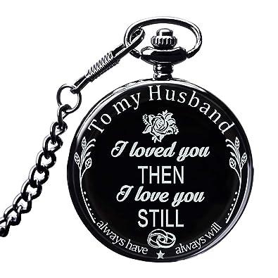 Amazon.com: LibbyPet - Reloj de bolsillo para marido, regalo ...
