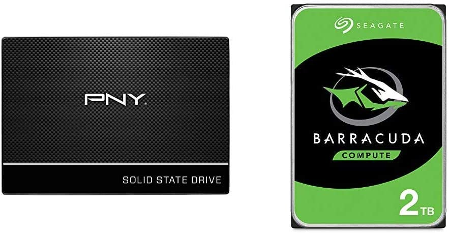 "PNY CS900 500GB 3D NAND 2.5"" SATA III Internal Solid State Drive (SSD) & Seagate Barracuda 2TB Internal Hard Drive HDD – 3.5 Inch SATA 6Gb/s 7200 RPM 256MB Cache 3.5-Inch – Frustration Free Packaging"
