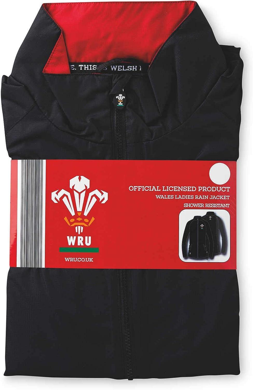 WRU Womens Official Licensed Wales Rugby Ladies Large Rain Jacket 39.5-41.5 Bust Black