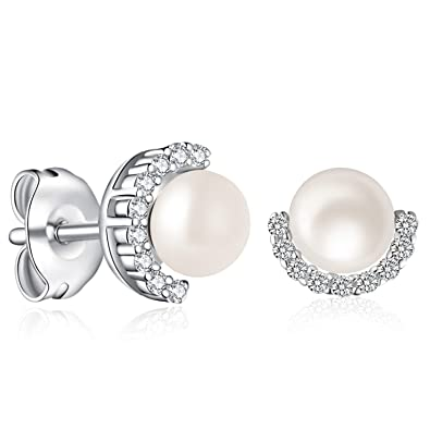 5489da80f Pearl Stud Earrings,PERLAVIE, 925 Sterling Silver Freshwater Pearl 4-5mm,  Gift